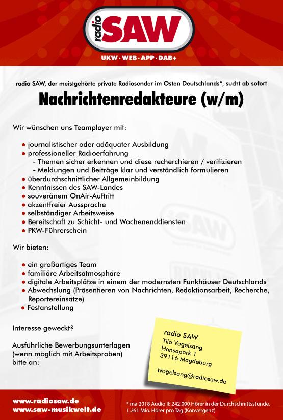 radio SAW sucht Nachrichtenredakteure (w/m)