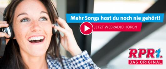 """Der neue RPR1.-Claim: """"Mehr Songs hast du noch nie gehört!"""" (Bild: Screenshot RPR1.-Homepage)"""