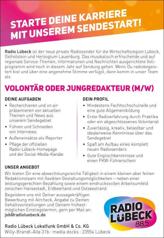 Radio Lübeck sucht Volontär oder Jungredakteur (m/w)