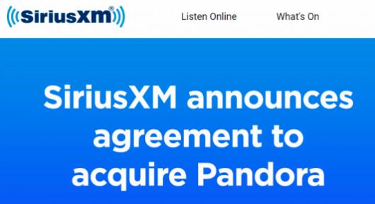 Ausschnitt der SiriusXM-Homepage
