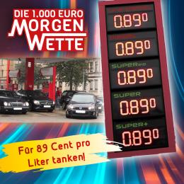 """89 Minuten lang für 89 Cent tanken: Dank der 89.0 RTL """"1.000 Euro Morgenwette"""" morgen in Stendal möglich"""