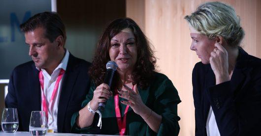Olaf Hopp, Monika Eigensperger und Valerie Weber auf den MTM18 (Bild: ©Medientage München)