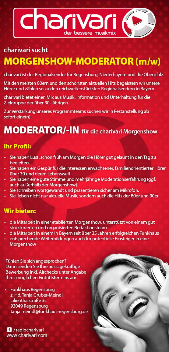 charivari sucht Morgenshow-Moderator (m/w)