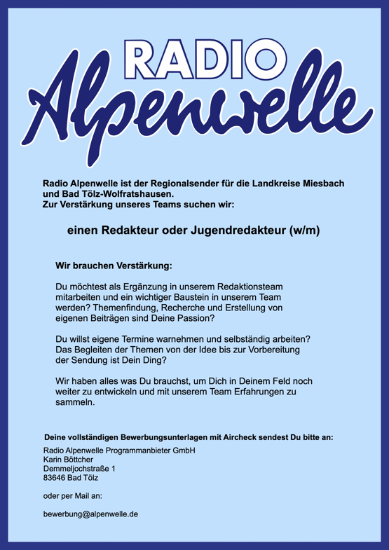 Radio Alpenwelle sucht Redakteur oder Jungredakteur (w/m)
