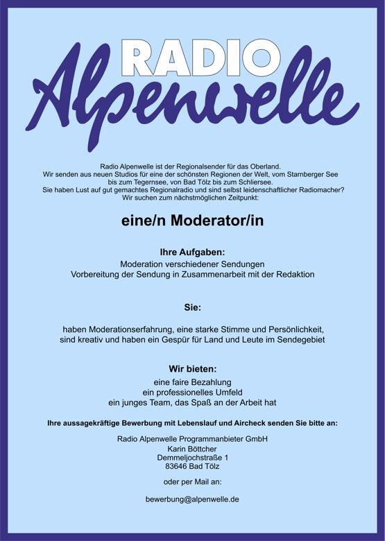Radio Alpenwelle sucht eine/n Moderator/in