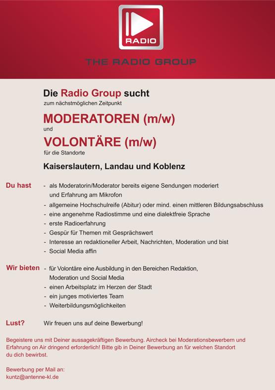 Radio Group sucht Moderatoren (m/w) und Volontäre (m/w)