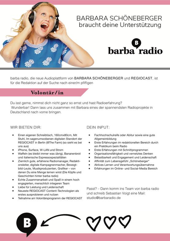 Barbara Schöneberger braucht Deine Unterstützung – barba radio sucht Volontaer/in