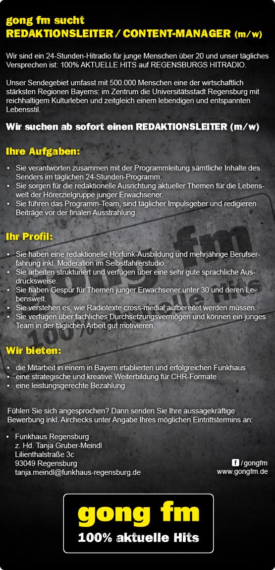 gong fm sucht Redaktionsleiter / Content-Manager (m/w)