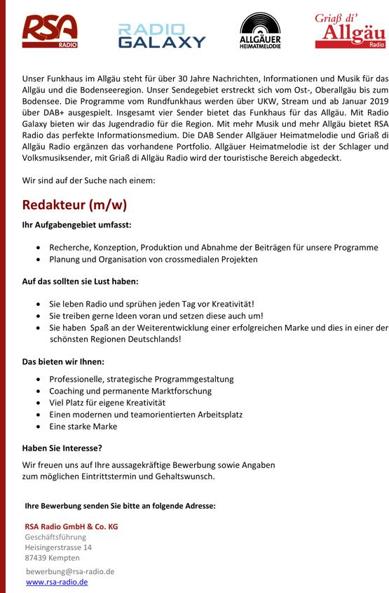 RSA Radio sucht einen Redakteur (m/w) in Kempten / Allgäu