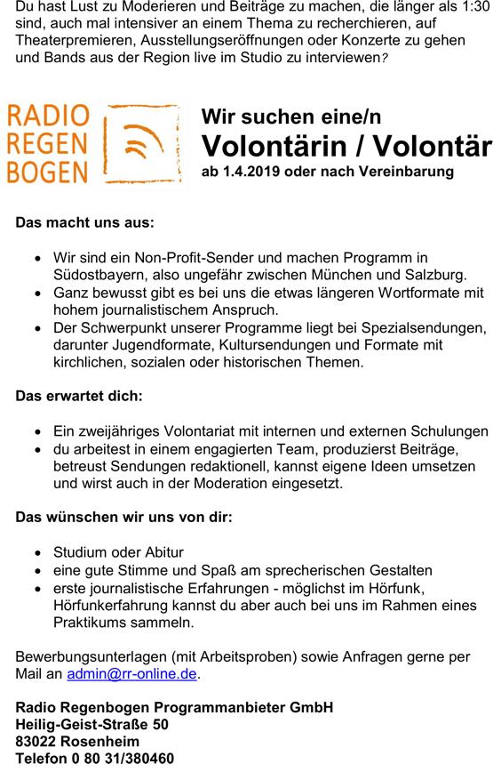 Radio Regenbogen Rosenheim sucht zum 1. April 2019 eine/n Volontär/in
