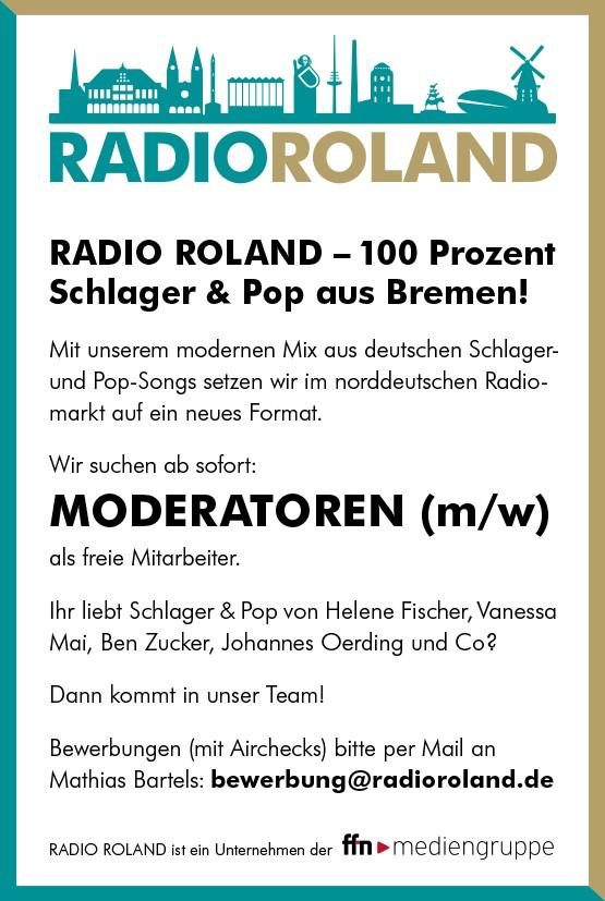 RADIO ROLAND – 100 Prozent Schlager & Pop aus Bremen – sucht ab sofort Moderatoren (m/w) als freie Mitarbeiter