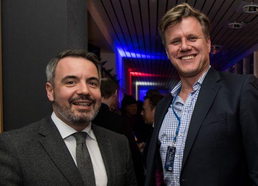 R.SH Jahresempfang 2019: Matthias Pfaff (Chief Digital Officer REGIOCAST), Christoph Falke (Leiter Geschäftsbereich TV & Radio, Axel Springer)