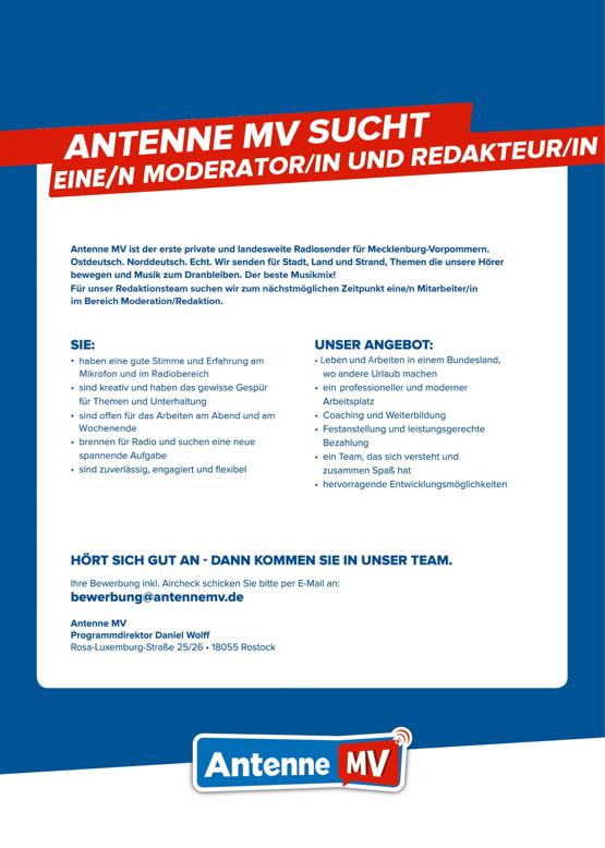 ANTENNE MV sucht eine/n Moderator/in und Redakteur/in