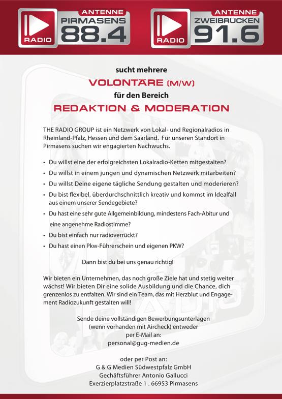 Antenne Pirmasens / Antenne Zweibrücken sucht mehrere Volontäre (m/w) für Redaktion und Moderation
