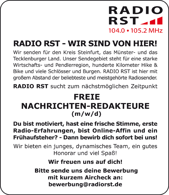 RADIO RST sucht freie Nachrichten-Redakteure (m/w/d)