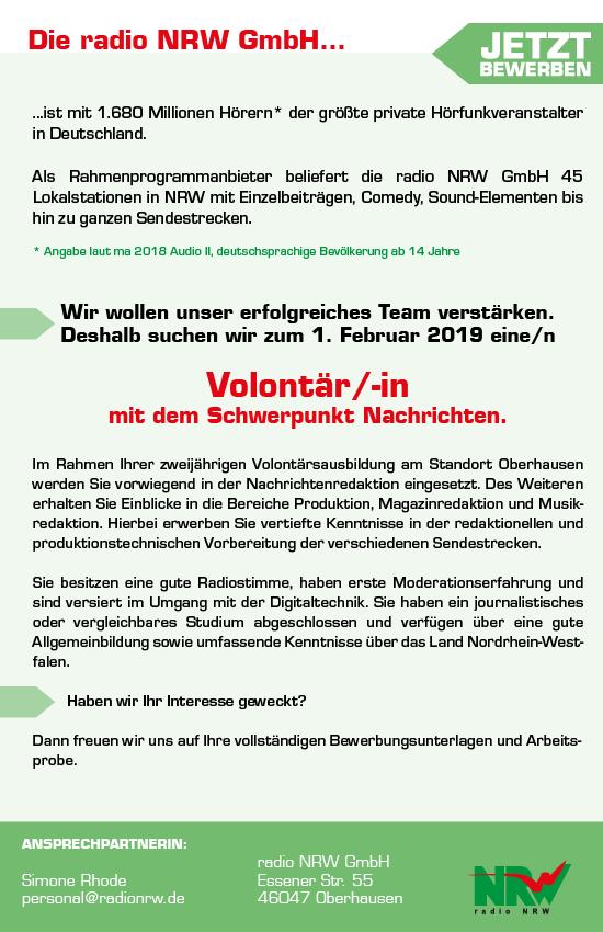 radio NRW sucht Volontär/in mit Schwerpunkt Nachrichten