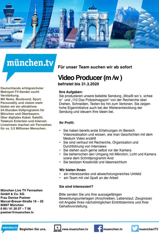 münchen.tv sucht Video Producer (m/w)