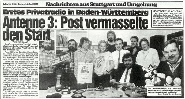 Hochrhein Radio Antenne 3: Post vermasselte Sendestart (Bild: BILD-Zeitung, Ausschnitt vom 6. April 1987)