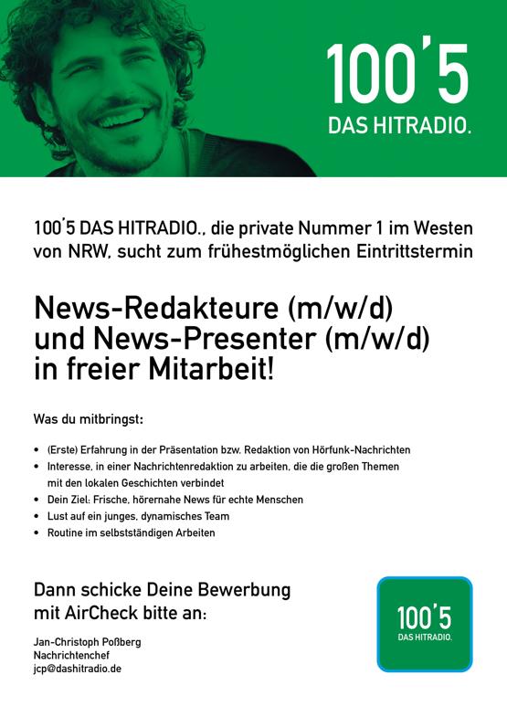 100'5 DAS HITRADIO. sucht News-Redakteur und News-Presenter (m/w/d) in freier Mitarbeit
