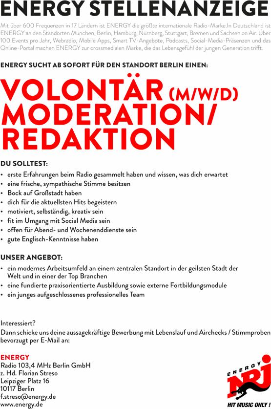 ENERGY sucht ab sofort für den Standort Berlin Volontär (m/w/d) Moderation/Redaktion