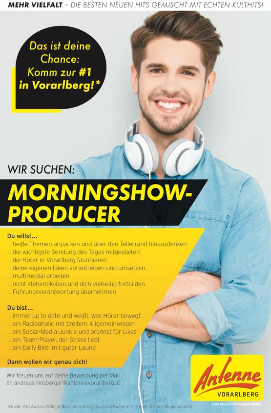 ANTENNE VORARLBERG sucht Morningshow-Producer