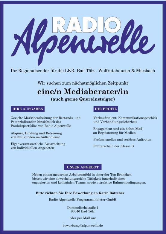 Radio Alpenwelle sucht zum nächstmöglichen Zeitpunkt eine/n Medienberater/in (auch gerne Quereinsteiger)