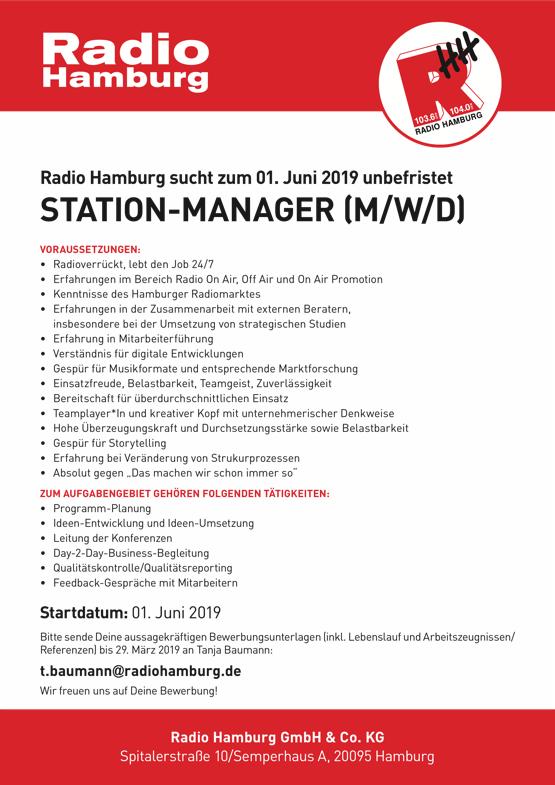 Radio Hamburg sucht zum 01. Juni 2019 unbefristet Station-Manager (m/w/d)