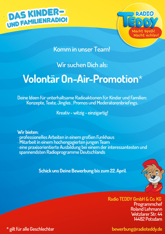 RADIO TEDDY sucht Volontär On-Air-Promotion*