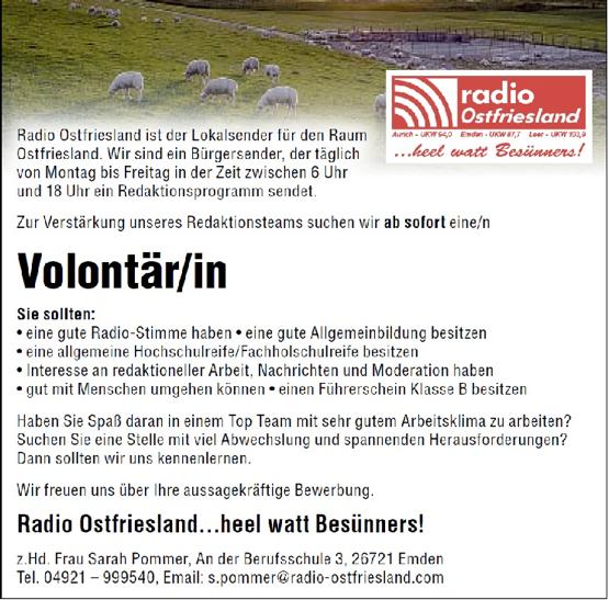 Radio Ostfriesland aus Emden sucht zur Verstärkung des Redaktionsteams ab sofort eine/n ab Volontär/in