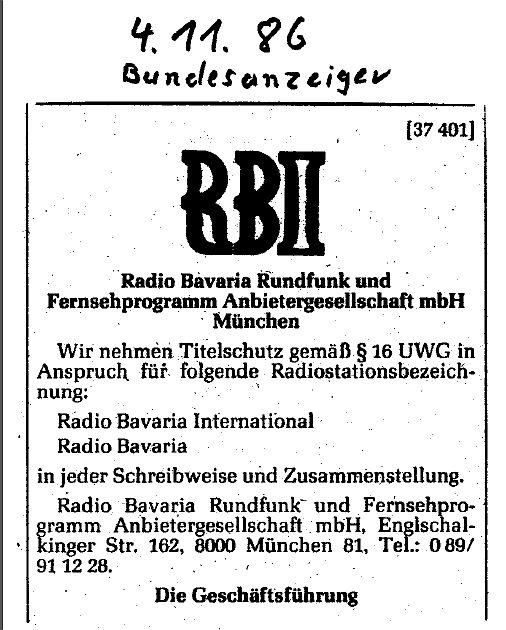 Der im Bundesanzeiger veröffentlichte Titelschutz für Radio Bavaria International. Im Dezember 2015 wurde der geschützte Name in einem Kaufvertrag von der GmbH an Jürgen von Wedel als Privatperson übertragen