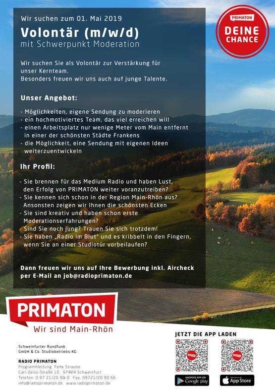 RADIO PRIMATON sucht zum 1. Mai 2019 Volontär (m/w/d) mit Schwerpunkt Moderation