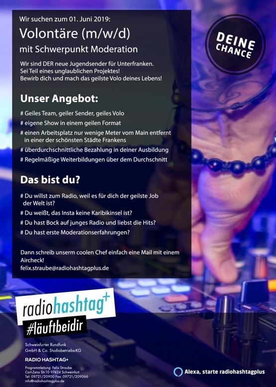 radiohashtag+ sucht zum 1. Juni 2019 Volontäre (m/w/d) mit Schwerpunkt Moderation