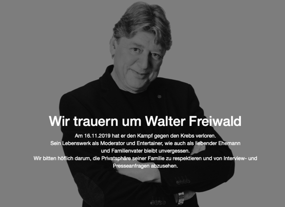 Walter Freiwald ist tot