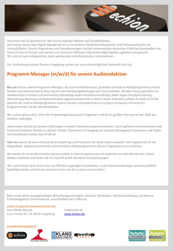 echion sucht Programm Manager (m/w/d) für die Audioredaktion