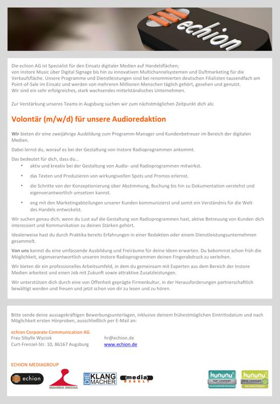 echion sucht Volontär (m/w/d) für Audioredaktion