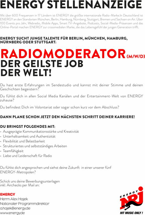 ENERGY Deutschland sucht Radiomoderator (m/w/d)