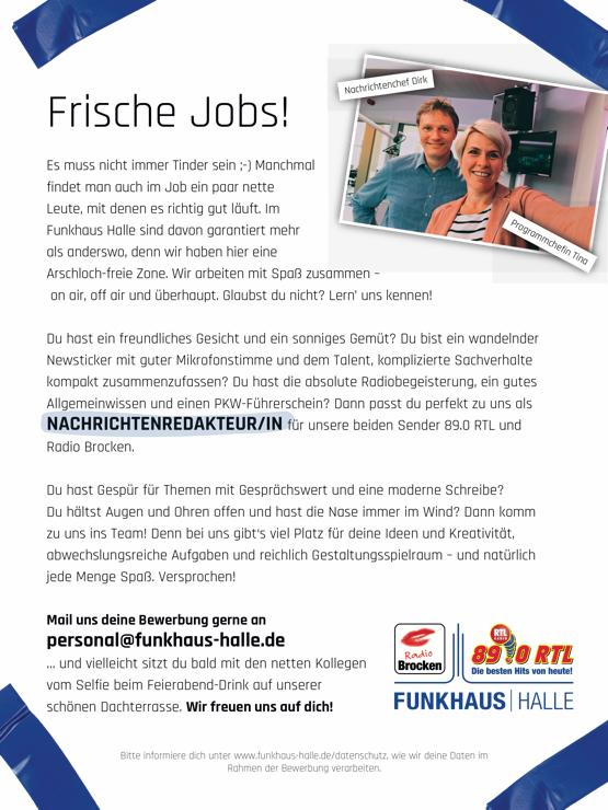 Funkhaus Halle sucht Nachrichtenredakteur/in