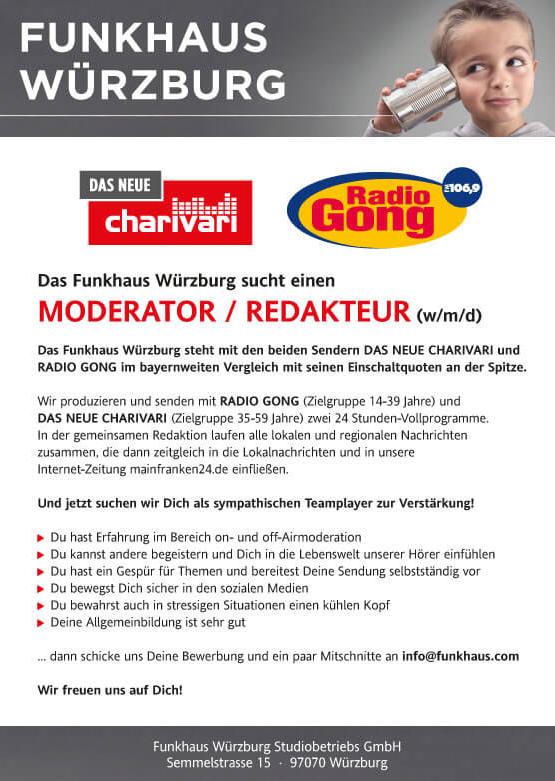 Funkhaus Würzburg sucht einen Moderator / Redakteur (w/m/d)