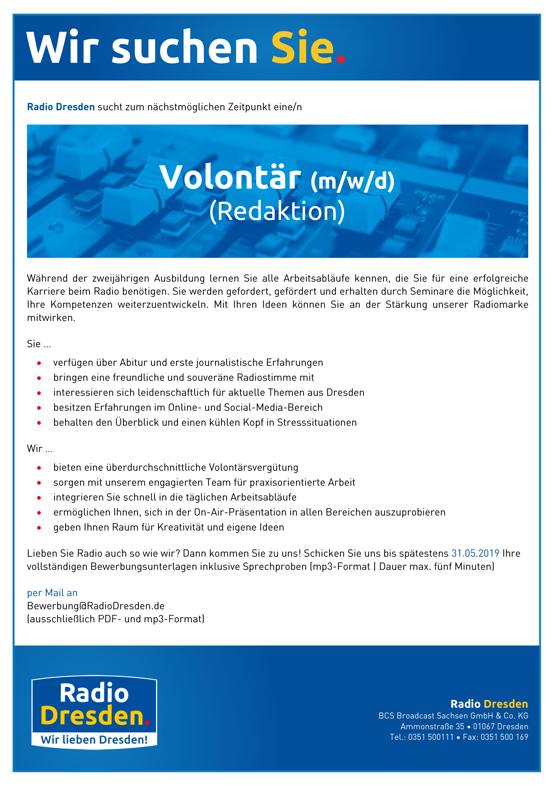 Radio Dresden sucht Volontär (m/w/d) in der Redaktion