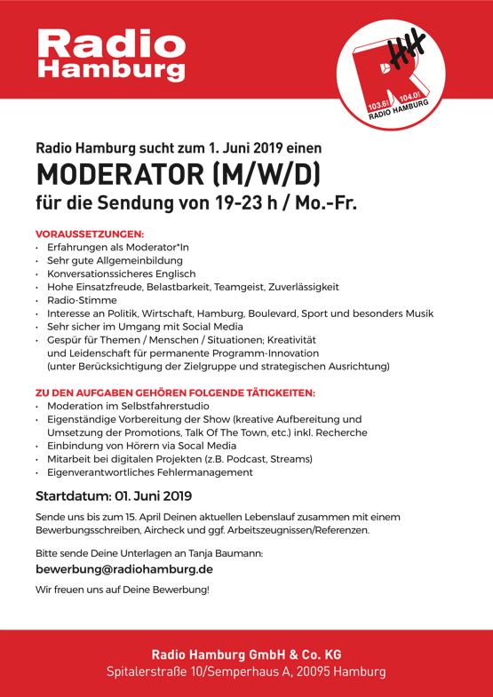 Radio Hamburg sucht Moderator (m/w/d)