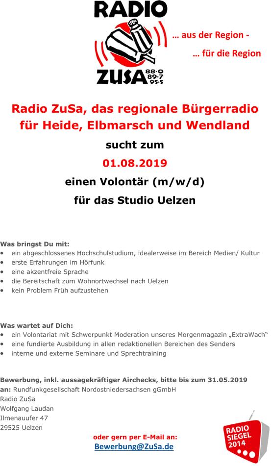 Radio ZuSa, das regionale Bürgerradio für Heide, Elbmarsch und Wendland sucht zum 01.08.2019 einen Volontär (m/w/d) für das Studio Uelzen