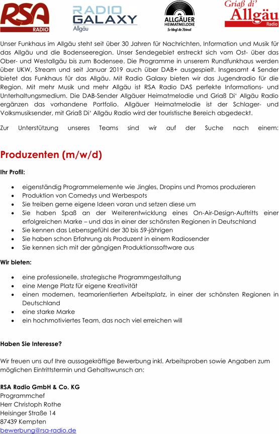 RSA Radio sucht Produzenten (m/w/d)