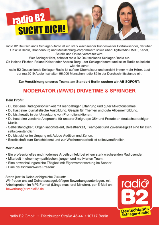 radio B2 sucht Moderator (m/w/d) Drivetime & Springer