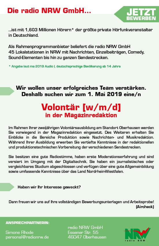 radio NRW sucht zum 1. Mail 2019 einen Volontär (m/w/d) in der Magazinredaktion