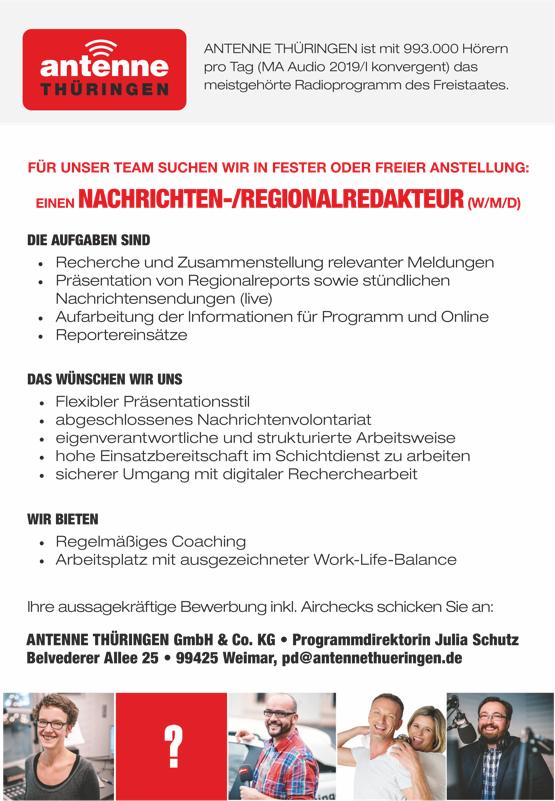 ANTENNE THÜRINGEN sucht Nachrichten-/Regionalredakteur (w/m/d)