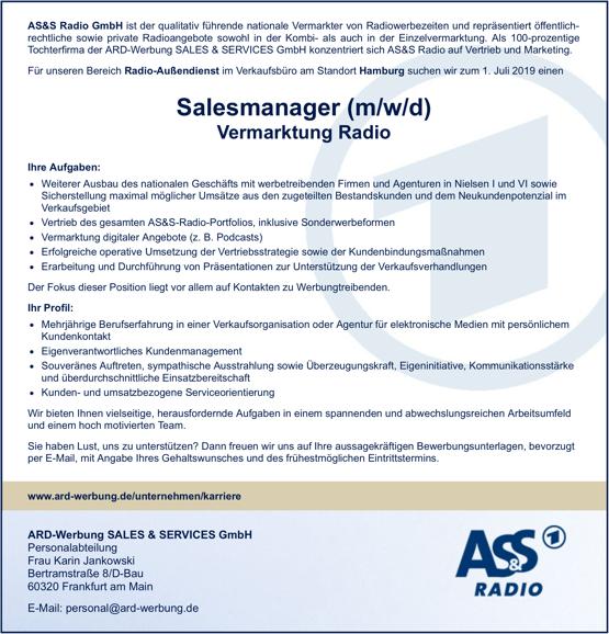 AS&S Radio sucht für den Bereich Radio-Außendienst im Verkaufsbüro am Standort Hamburg zum 1. Juli 2019 einen Salesmanager (m/w/d) Vermarktung Radio