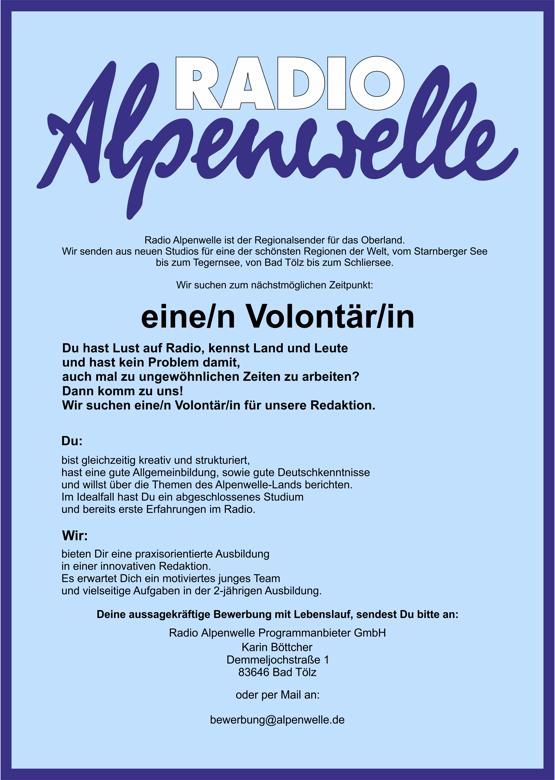 Radio Alpenwelle sucht eine/n Volontär/in