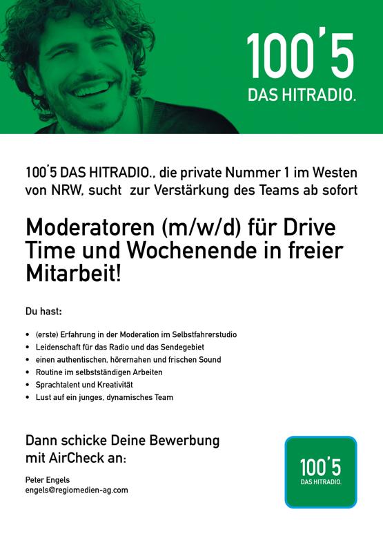 100'5 DAS HITRADIO. sucht Moderatoren (m/w/d) für Drive Time und Wochenende