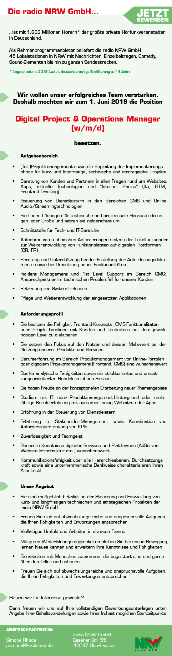 radio NRW sucht Digital Project & Operations Manager [w/m/d]