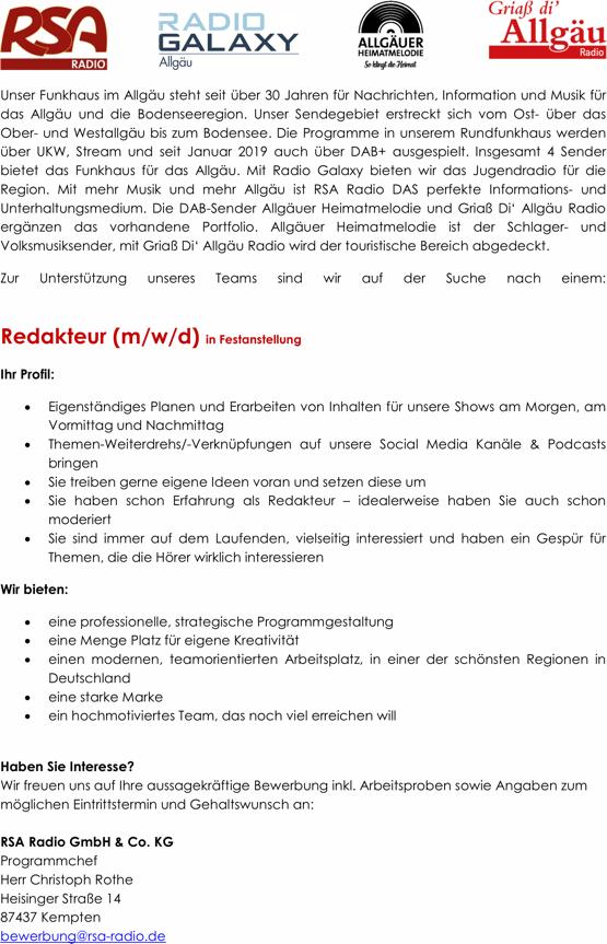 Funkhaus Allgäu (RSA RADIO, Radio Galaxy) sucht Redakteur (m/w/d)